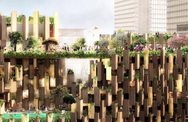 La ricca vegetazione che caratterizzerà l'1Hotel in via di realizzazione a Parigi
