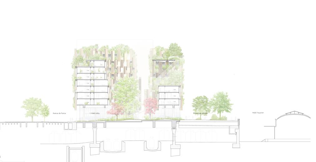 Pianta dell'1Hotel che sarà realizzato a Parigi da Kengo Kuma