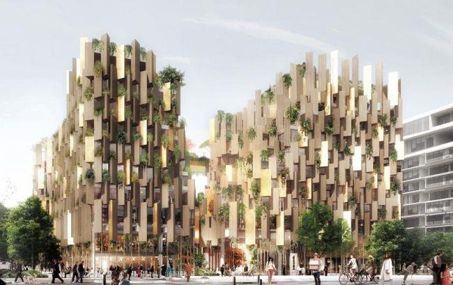 Rendering del nuovo eco hotel 1Hotel firmato a Parigi da Kengo Kuma