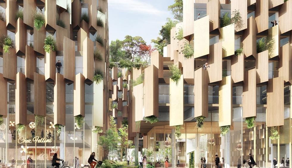 Il legno caratterizza facciata e interni del progetto dell'1Hotel a Parigi