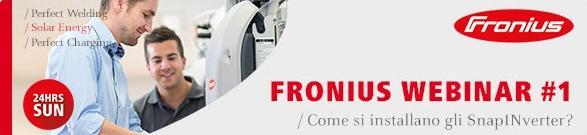 Il 22 settembre il primo webinar Fronius su come installare gli SnapInverter
