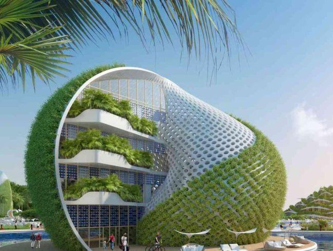 L'eco resort Nautilus ospita cascate di giardini verticali