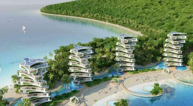 Sono 12 le torri a spirale ecosostenibili dell'eco resort Nautilus