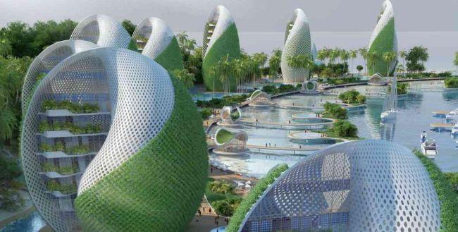 Gli alberghi a forma di conciglia che caratterizzano l'eco resort nautilus che sorgerà nelle Filippine