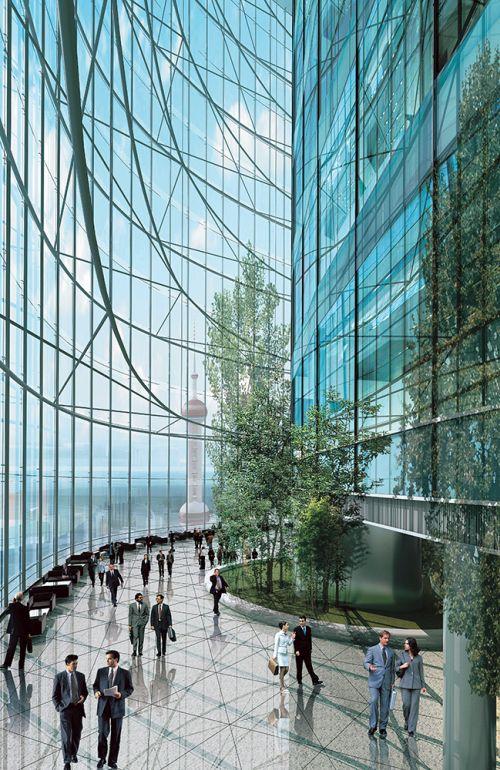 La facciata vetrata e trasparente della Shanghai Tower