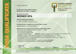 Certificato posa qualificata serramenti di Berner