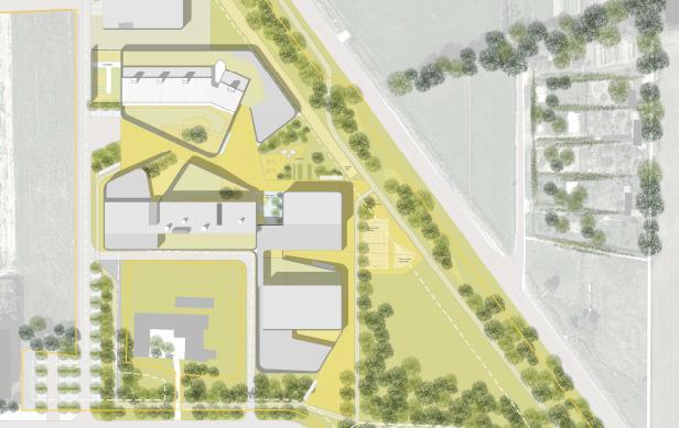 Disegno progetto nuova scuola a Cernusco sul Naviglio