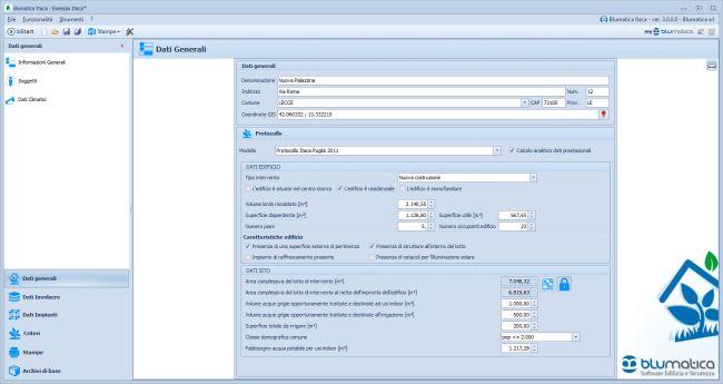 Dati generali software Blumatica Itaca