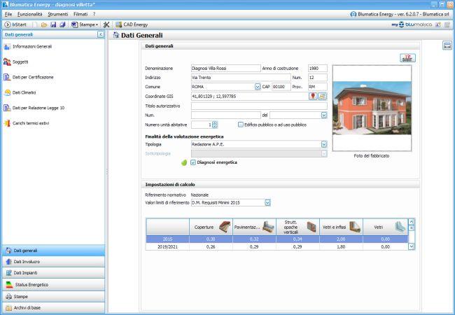 Dati generali software Blumatica Diagnosi Energetica