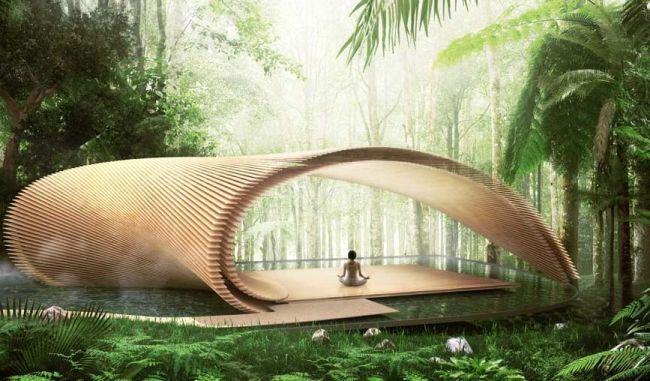 Il padiglione yoga di una delle ville di Bali Tsubomi Villas