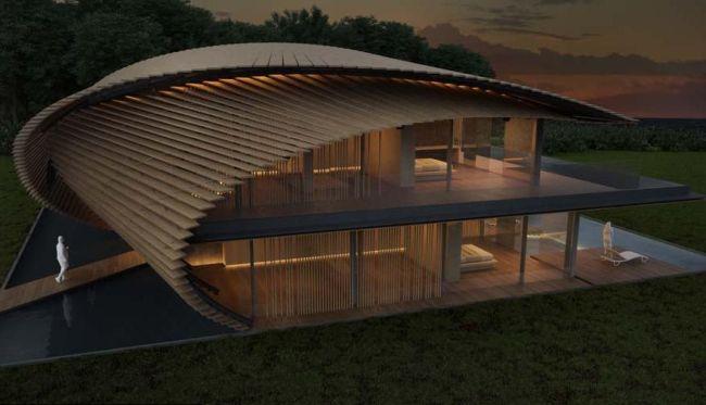 La geometria delle Tsubomi Villas prevede strati sovrapposti di legno