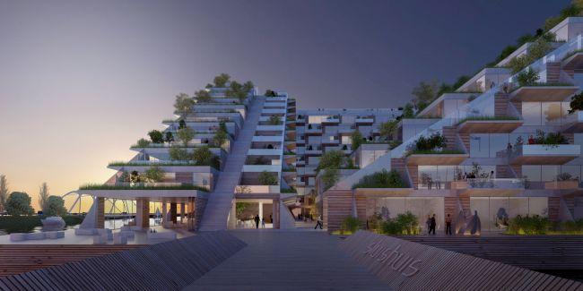 Le grandi terrazze panoramiche che caratterizzano il complesso Sluishuis di Amsterdam