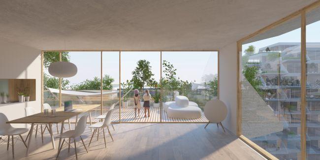 Appartamento con terrazza del nuovo edificio Sluishuis di Amsterdam
