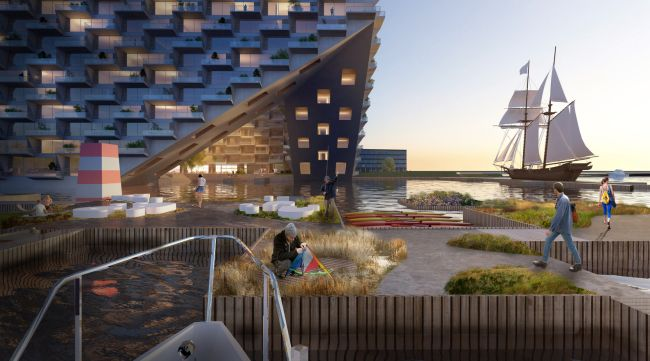 Complesso galleggiante e sostenibile Sluishuis realizzato ad Amsterdam