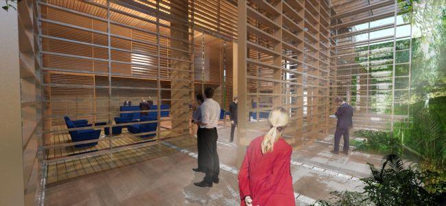 Il legno caratterizza anche gli interni della torre Rosewood Tower