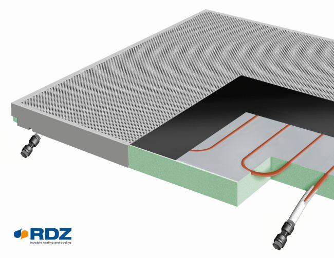 sistema radiante a soffitto b!klimax+ con Quadrotti metallici HP e Copper 8