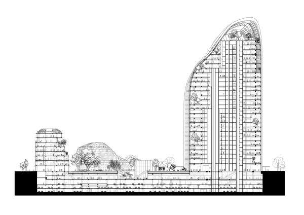 Sezione del progetto Chaoyang Park Plaza