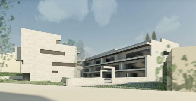 Rendering dei due complessi antistanti del progetto di via Roma a Gallarate  firmato da Alvaro Siza Architetto