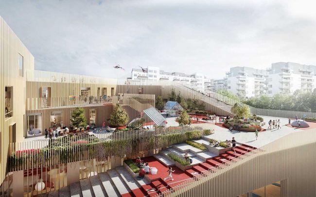 Il tetto della New Island Brygge School attrezzato a palestra