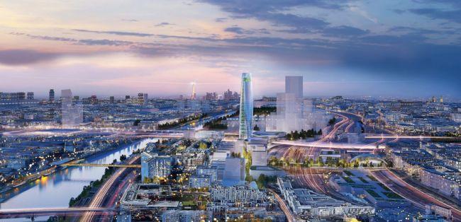 Vista dall'alto del nuovo grattacielo Charenton-Bercy che sorgerà a Parigi