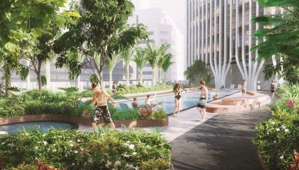 La piscina del nuovo grattacielo green di Singapore