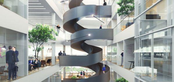 Grande scala a chiocciola nuovo Campus dell'NGI di Oslo