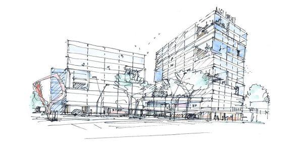 Disegno del nuovo campus del Norwegian Geotechnical Institute di Oslo