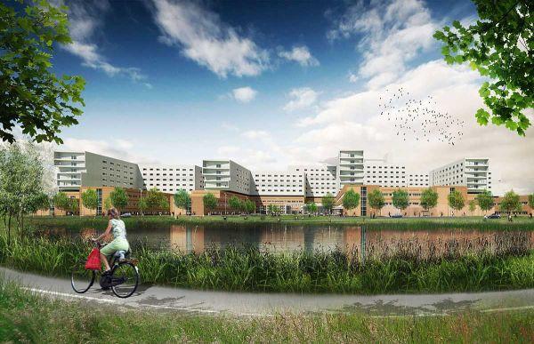 Una vista esterna dell'ospedale che Politecnica sta realizzando in Danimarca