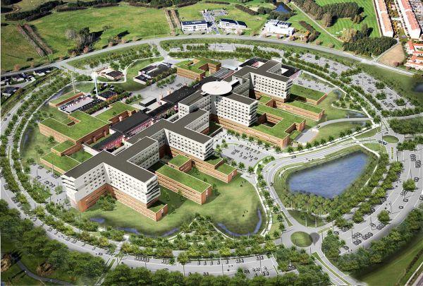 Render con vista dall'alto del nuovo Zealand University Hospital