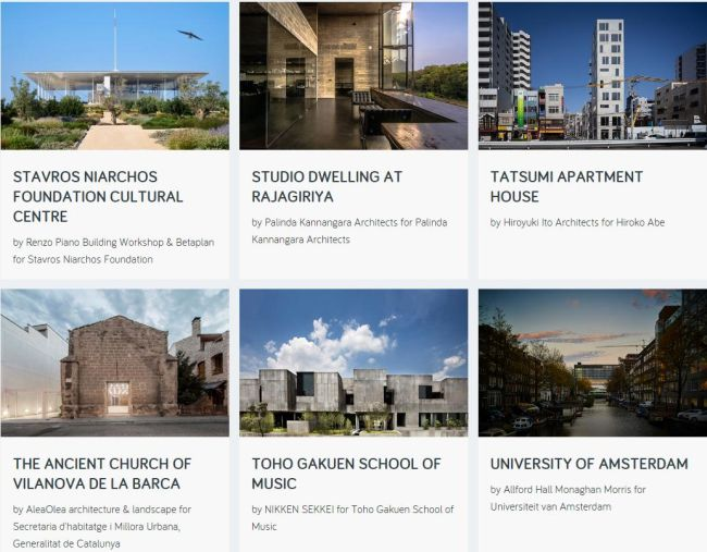 progetti vincitori del RIBA Awards for International Excellence 2018