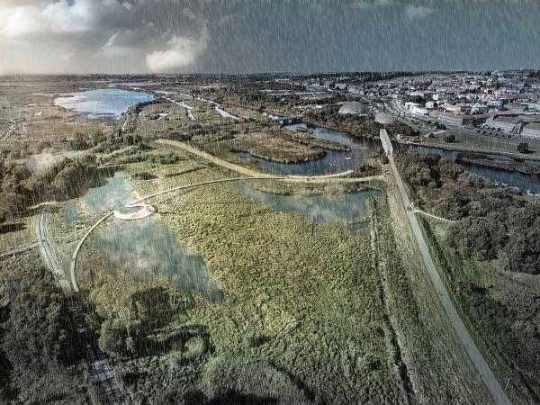 Render della zona di Vorup in Danimarca, sotto la pioggia