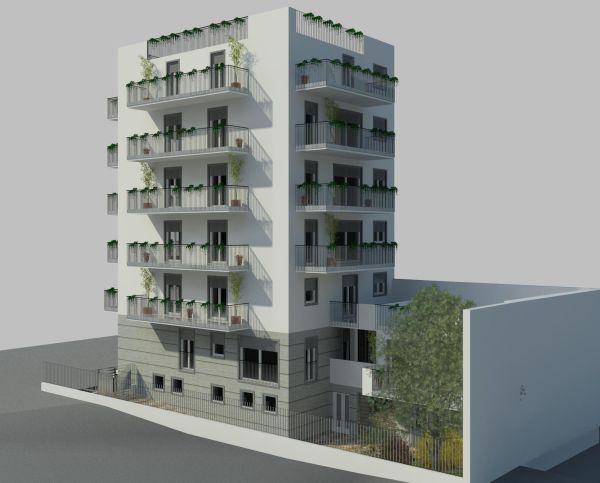 Render del nuovo progetto realizzato a Milano con blocchi Normablok di Fornaci Laterizi Danesi