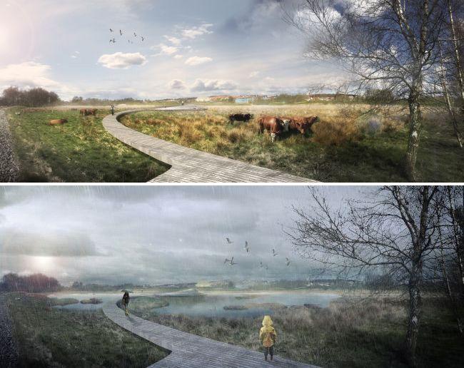 Render della passerrella pedonale realizzata a Renders, in Danimarca, in due differenti momenti, con il sole e sotto la pioggia