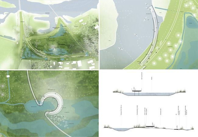 Sezioni e disegni del progetto paesagistico a Randers, in Danimarca