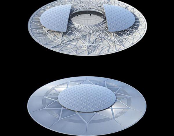 Il tetto apribile del Khalifa Tennis Complex di Doha