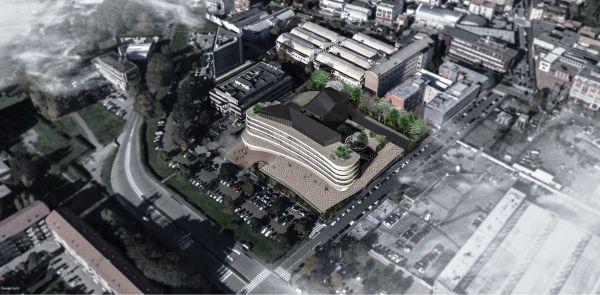 Vista aerea dell'area su cui sorgerà il progetto Arcadia Center a Milano