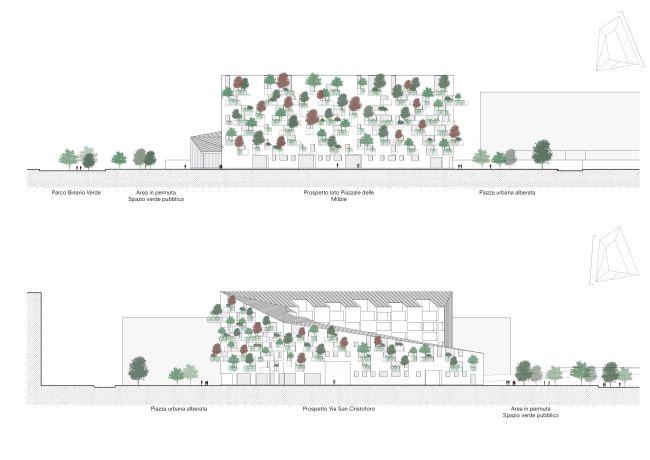 Prospetti est e ovest edificio corte verde di Milano
