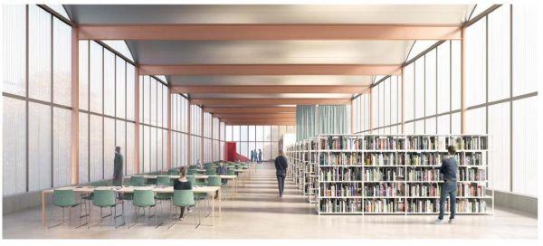 Sala di lettura al secondo piano della nuova biblioteca Lorenteggio