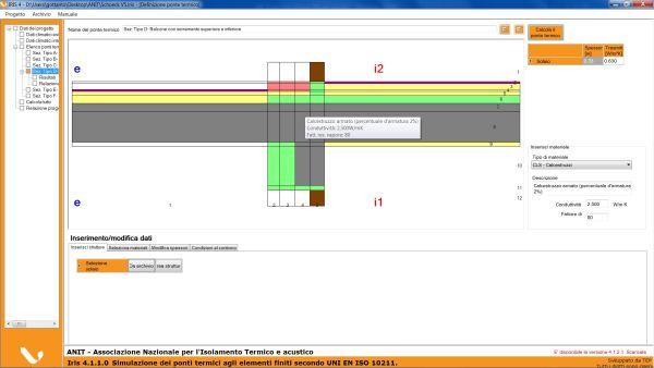 Simulazione tratta dal Software IRIS per soluzione ponti termici