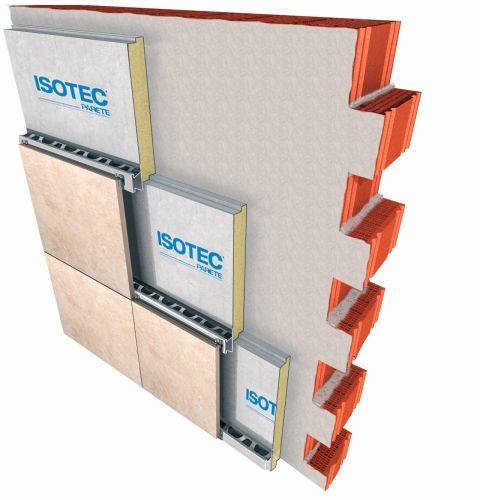 Sistema isolante Isotec parete con Gres porcellanato