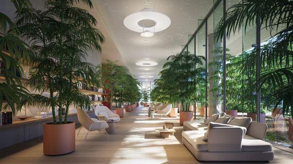 L'atrio del Eighty Seven Park di Miami progettato da Renzo Piano