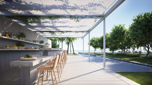 Il bar esterno dell'Eighty Seven Park di Miami progettato da Renzo Piano