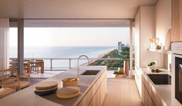Interno di un appartamento dell'Eighty Seven Park di Miami progettato da Renzo Piano