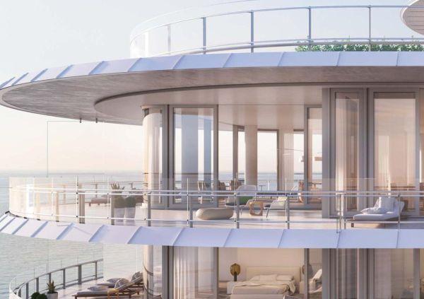 Particolare delle terrazze del complesso residenziale Eighty Seven Park a Miami