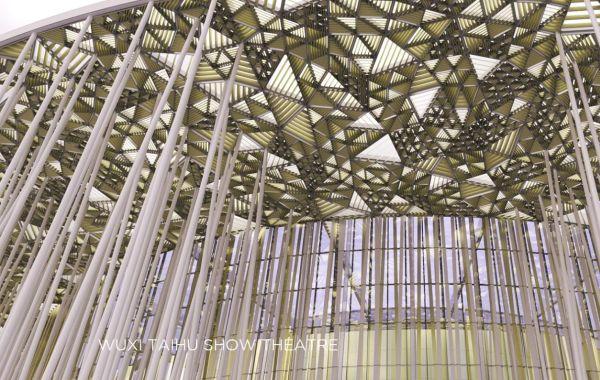 Il tetto del Wuxi Show Theatre che sta sorgendo in Cina