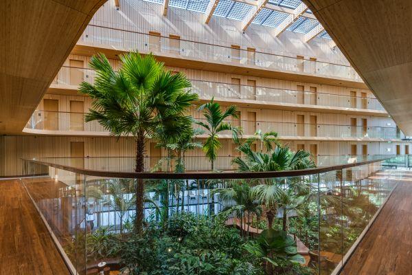 Vista dell'atrio del Green Hotel Jakarta arricchito da piante di bambù e palme