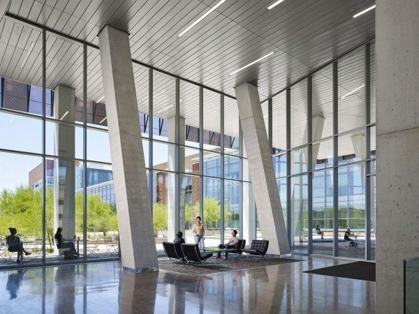 Grandi finestre per il nuovo campus dell'Università dell'Arizona che affacciano sul verde
