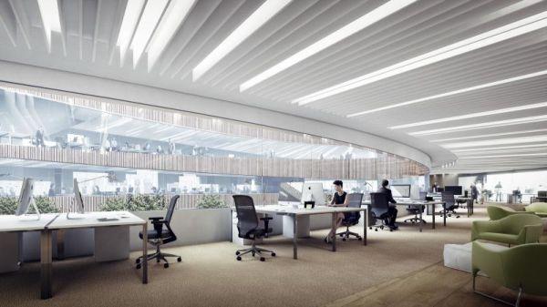 Massima illuminazione naturale per gli uffici Il tetto del Powerhouse Brattorkaia in Norvegia