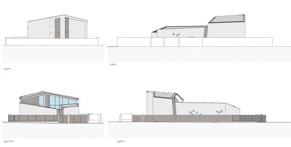 Prospetti della nuova villa in via di realizzazione a Milano dell'Architetti Giuseppe Tortato