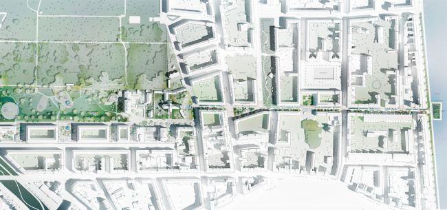 Masterplan progettuale del quartiere di Nørrebro con individuazione del parco verde